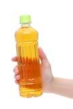 Mão que guarda a garrafa do chá japonês Imagens de Stock