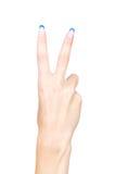 Mão que mostra dois dedos Imagens de Stock Royalty Free