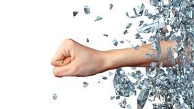 Mão que quebra completamente da parede de vidro Ilustração 3d abstrata Imagem de Stock