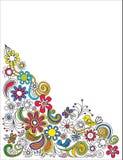 Mão retro beira floral tirada Foto de Stock Royalty Free