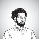 Mo Salah Vector Portrait Cartoon Caricature teckningsillustration Maj 31, 2018 royaltyfri illustrationer