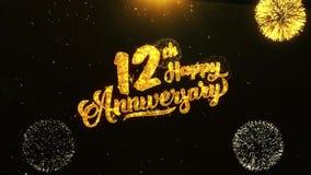 12mo saludo feliz del texto del aniversario, deseos, celebración, fondo de la invitación stock de ilustración