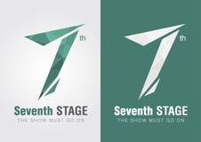 7mo símbolo del icono de la etapa de una letra número 7 del alfabeto Foto de archivo libre de regalías