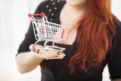 Moça com mini fim do trole do carrinho de compras acima Imagem de Stock