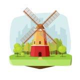 Moa a exploração agrícola na ilustração do vetor da paisagem da natureza, moinho de vento holandês retro da caixa lisa perto da f Imagens de Stock Royalty Free