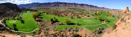 Moab Desert Golf Course Panorama Royalty Free Stock Photo
