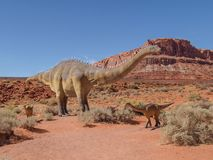 Moab Giants Museum in Utah. Located in scenic Moab, Utah, Moab Giants Museum allows visitors to walk a half mile trail featuring life size dinosaurs. There are royalty free stock image