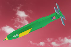 MOAB Mother Of All Bombs In Red Sky Illustration. 3D Render Illustration of Flying Royalty Free Stock Photography
