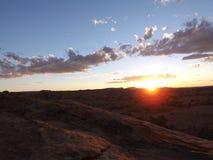 Moab solnedgång Arkivfoton