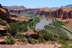Moab, Utá e o Rio Colorado Fotos de Stock Royalty Free
