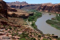 Moab, Utah en de Rivier van Colorado Stock Foto