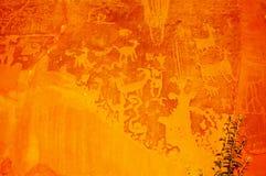 Moab, Utah, petroglifi del canyon del fiore della luna Fotografia Stock Libera da Diritti