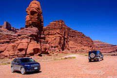 Moab, Utah, USA - June 15, 2015: Jeep on the Shafer Trail road in Canyonlands National Park. Jeep on the Shafer Trail road in Canyonlands National Park Stock Photos