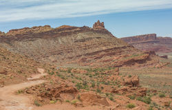Moab winding off-road trail in the orange mountains summer Stock Image