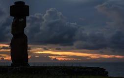 Moai雕象在复活节岛,智利 库存图片