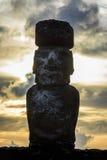 Moai雕象在复活节岛,智利 图库摄影