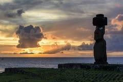 Moai雕象,复活节岛,智利 免版税图库摄影