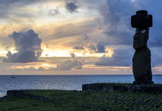 Moai雕象,复活节岛,智利 免版税库存照片