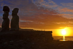 moai雕象 免版税图库摄影