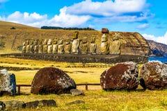 Moai в национальном парке Rapa Nui стоковое фото rf
