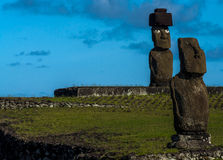 Moai на острове пасхи, Чили Стоковые Фотографии RF