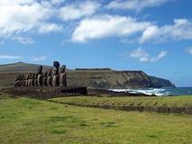 Moai на острове пасхи стоковые изображения rf