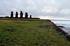 moai острова Чили пасхи Стоковая Фотография
