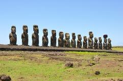 Moai. Statues on the island Rapa Nui royalty free stock photos