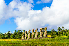 Moai at Ahu Akivi. On Easter Island, Chile Stock Photos