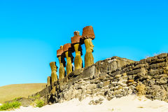 Moai at Ahu Nau Nau. In Anakena Beach on Easter Island, Chile Stock Photos