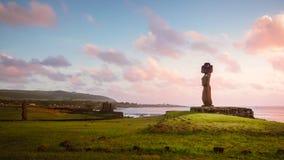 Moai of Ahu Tahai in Hanga Roa, capital of Easter Island during sunset royalty free stock photos