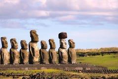 Moai in Ahu Tongariki, het Eiland van Pasen, Chili stock afbeelding