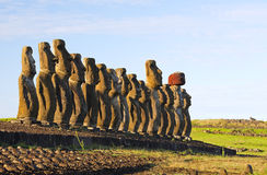 Moai. Ahu Tongariki, Easter Island Royalty Free Stock Photography