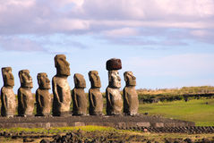 Moai at Ahu Tongariki, Easter Island, Chile Stock Image