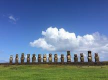 Moai Ahu Tongariki na Wielkanocnej wyspie Fotografia Stock