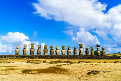 Moai at Ahu Tongariki. In the Rapa Nui National Park on Easter Island, Chile Royalty Free Stock Photos