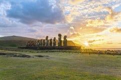 Moai Ahu Tongariki, Wielkanocna wyspa, Chile Zdjęcia Stock
