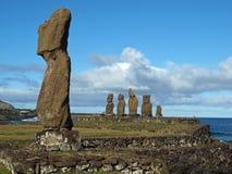 Moai av Ahu Tahai Arkivbild