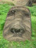 Moai bei Rano Raraku Stockbilder