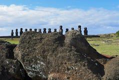 Moai caduto a Tongariki, isola di pasqua Fotografia Stock Libera da Diritti