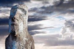 Moai a couvert dans le lichen en île de Pâques image libre de droits