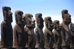 Moai de Ahu Tongariki en la isla de pascua (Rapa Nui) Foto de archivo