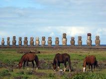Moai dell'isola di pasqua Fotografie Stock Libere da Diritti
