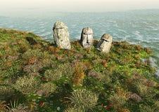 Moai on Easter Island Stock Photo