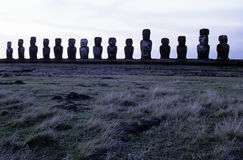 Moai- Easter Island, Chile. Ahu Tongariki is the largest ahu on Rapa Nui/Easter Island (a Chilean island in the Pacific). Its moai were toppled during the island Stock Photos