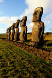 Moai- Easter Island, Chile. Moai statues at Ahu Akivi is an ahu with seven moai on Rapa Nui (Easter Island) in Chilean Polynesia Royalty Free Stock Photography