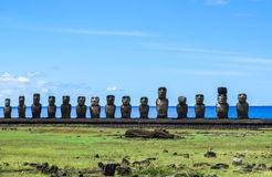 Moai in Easter Island, Chile. This picture is taken in Rapa Nui, Chile. Easter Island Rapa Nui: Rapa Nui, Spanish: Isla de Pascua is a Chilean island in the Stock Image
