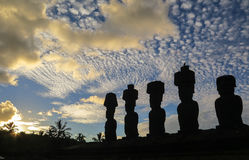 Moai in Easter Island, Chile Stock Photos