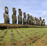 Moai - Easter Island - South Pacific. Row of Moai at Ahu Tongariki on Easter Island in the South Pacific Royalty Free Stock Photo