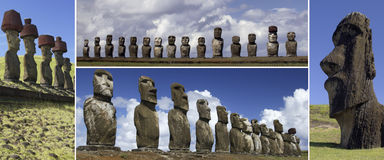 Moai of Easter Island - South Pacific Stock Photo